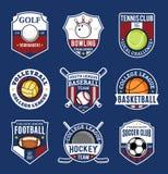 Set of sport team logo for nine sport disciplines Royalty Free Stock Photo
