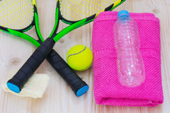 Set sport of tennis on the table Stock Image