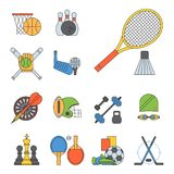Set of sport vector icons in flat design line pictogram fitness sportsmen symbol game trophy competition dumbbell Stock Photos