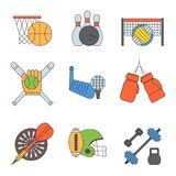 Set of sport vector icons in flat design line pictogram fitness sportsmen symbol game trophy competition dumbbell. Activity illustration. Basketball, football Royalty Free Stock Images