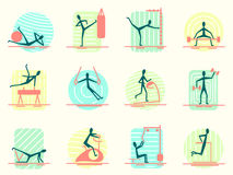 Set sporta wyposażenia ikony z osobą robi różnej gym aktywności Sportowy, ciało budynek, szkolenie i trening, Obrazy Stock
