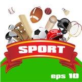 Set sporta wyposażenie czerwone wstążki Płaska ilustracja Fotografia Stock