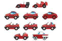 Set of sportcar. Series of red sport cars with different bodies Stock Photography