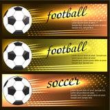 Set Sportfahnen Satz von Fahnen und von Platz des Fußballs (Fußball) Lizenzfreies Stockfoto