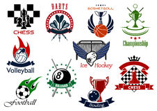 Set of sporting emblems and icons Stock Images