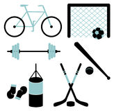 Set of sporting equipment. Vector illustration. Stock Image