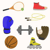 Set of sporting goods. Flat style. vector illustration Stock Images