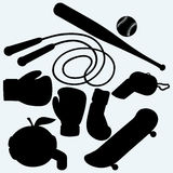 Set sporting goods. Skateboard, jump rope, baseball and boxing gloves.  on blue background. Vector silhouettes Stock Photography