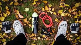 Sportive equipment on grass Stock Photo