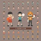 Set of 43  sportman costume characters Stock Image