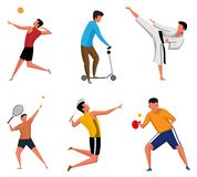 Set of Sports Activities Characters Vector Illustrations vector illustration