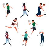 Set of Sports Activities Characters Vector Illustrations stock illustration