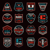 Set of sports badges. Soccer, bowling, baseball, tennis and other. Color print on black background Stock Images