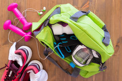 Set sports with a bag Royalty Free Stock Photography