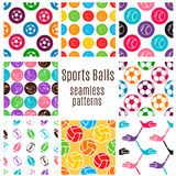 Set of sports balls seamless pattern. Stock Image