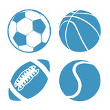 Set of Sports balls Soccer Basketball American Football tennis Stock Photography