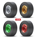 Set of sports car colorful wheels. Vector Royalty Free Stock Photo