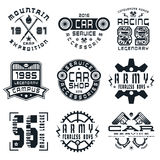 Set of sports, car service and military emblems Stock Image