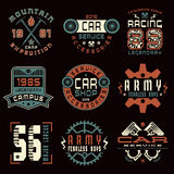 Set of sports, car service and military emblems Royalty Free Stock Images