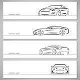 Set of sports car vector silhouettes, outlines, contours Royalty Free Stock Photography