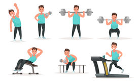 Set of sports character. The man in the gym is warming up and do Royalty Free Stock Photo