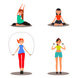 Set of sports character. Sport girls. Vector illustration for web design Stock Photos