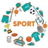 A set of sports clothes and items for different sports. T-shirt, shorts, sneakers, bag, football and basketballs, volan, tennis ra Stock Photos