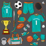 A set of sports clothes and items for different sports. T-shirt, shorts, sneakers, bag, football and basketballs, volan, tennis ra Royalty Free Stock Image