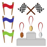 Set of sports competitions. Vector illustration set of sports competitions: medals, modium , finishing tape and flag to start Royalty Free Stock Photos