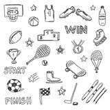 Set of sports doodles elements. Hand draw icons Royalty Free Stock Images