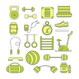 Set of sports elements. Collection fitness  objects kettlebell, dumbbell, mat, barbell, fitball, stationary bike, sports nutrition, jumping rope and others Royalty Free Stock Photo