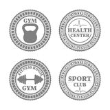 Set of sports emblems in retro style, vector illustration Stock Photos