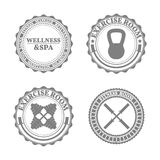 Set of sports emblems in retro style, vector illustration Stock Images