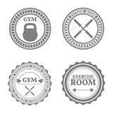 Set of sports emblems in retro style, vector illustration Stock Photography