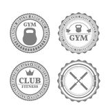 Set of sports emblems in retro style, vector illustration Royalty Free Stock Photography