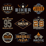 Set of sports emblems. Skateboard, racing, baseball, soccer, rugby. Graphic design for t-shirt. Color print on black  background Stock Photography