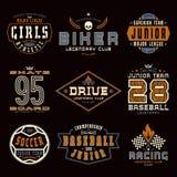 Set of sports emblems. Skateboard, racing, baseball, soccer, rugby. Graphic design for t-shirt. Color print on black background royalty free illustration