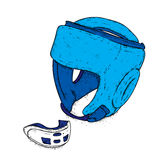 A set of sports equipment. Boxing helmet and guard for teeth. Vector illustration. vector illustration