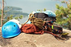 Set of sports equipment for climbing royalty free stock photography