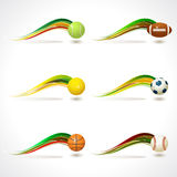 Set of Sports equipment colorful rainbow curv Royalty Free Stock Images