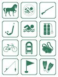 Set of sports equipment icons Stock Images