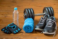 Set of sports facilities for a male athlete Royalty Free Stock Images
