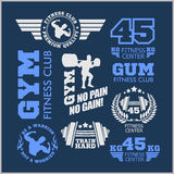 Set of sports and fitness logo. Gym logotypes. Athletic labels  badges. Set of two color sports and fitness logo templates. Gym logotypes. Athletic labels and Stock Images