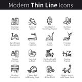 Set of sports and gym equipment icons Royalty Free Stock Photo