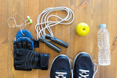 Set of sports in the hall. Things are on the table for sports and recreation Royalty Free Stock Image