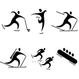 Set of sports icons. Winter sports, the Olympic disciplines Stock Photos