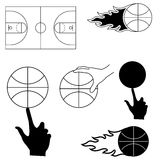 Set of sports image for basketball Royalty Free Stock Photos