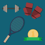 Set of sports items. In a flat design Royalty Free Stock Image