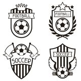 Set of sports labels with soccer football symbols Royalty Free Stock Images