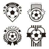 Set of sports labels with soccer football symbols. Set of sports badges and labels with soccer football symbols Stock Photography